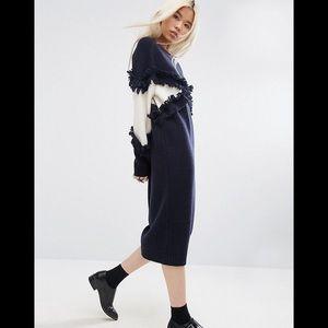ASOS Knitted Diamond Fringe Midi Sweater Dress